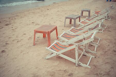 Beach bed on the beach welcome tourists to sit and relax nature background