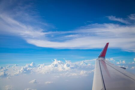 Sky and clouds from above the ground viewed from an airplane nature background Stockfoto