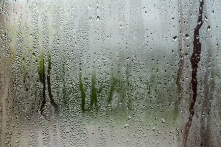 natural behind the wet glass with water drops on the glass background Stockfoto