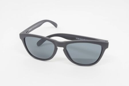 Modern black colored glasses on a white background Stockfoto