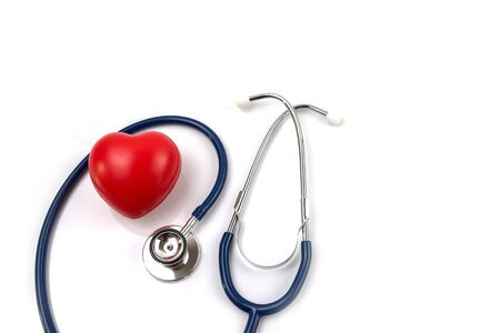 Stethoscope and red heart for check health isolate on white background