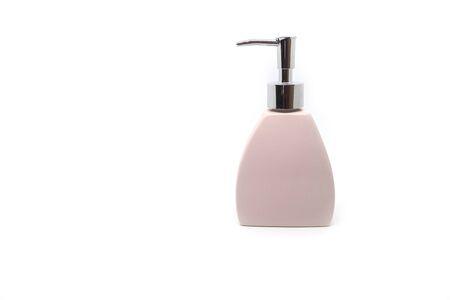 Modern ceramic liquid soap bottle on white background