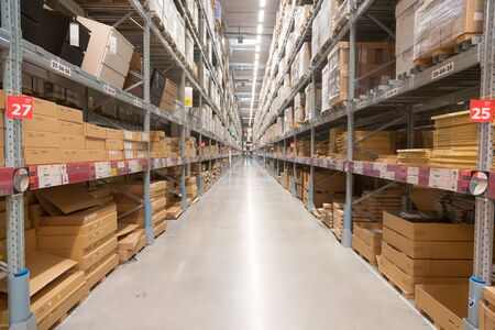 Way to warehouse with stocks of product and goods background