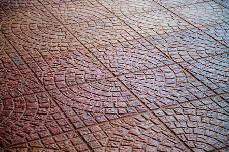 Cobblestone pavement with circular pattern background Banque d'images