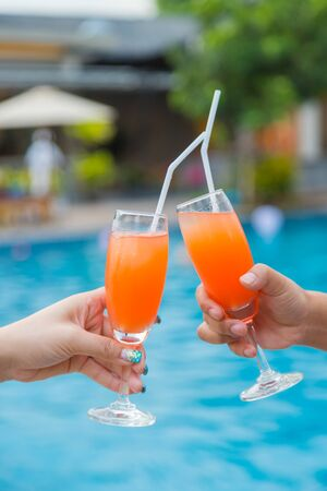 Cocktail party at the pool for celebration meeting background Standard-Bild - 129454509