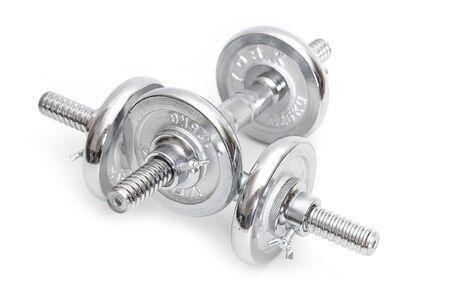 Silver dumbbells on white background