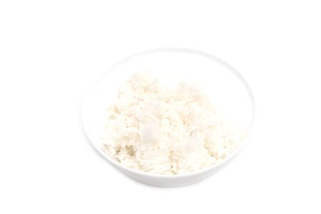 Steamed rice in a bowl on white background Stok Fotoğraf