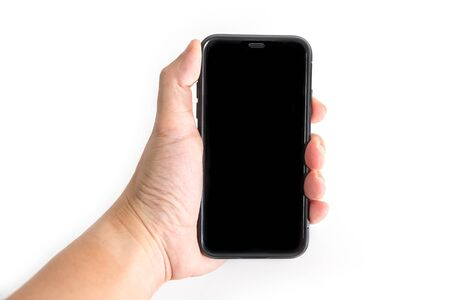 Hand to hold mobile phone isolated on white background