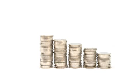 Coins placed as gradients from low to high, financial growth concepts on white background