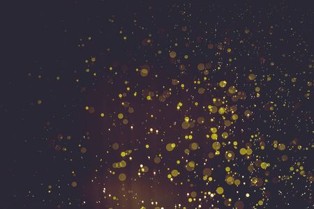Abstract gold bokeh with black background Stock Photo
