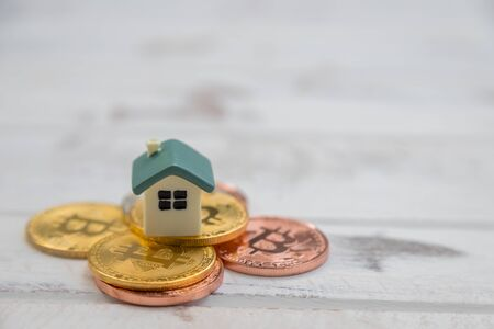 House is placed on a gold bit coin with white wood background