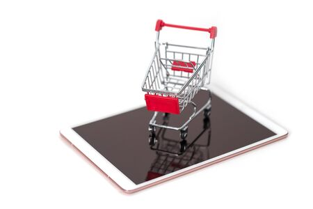 Ideas about online IT shopping addiction with shopping  trolley background