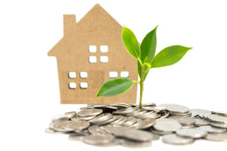 Saving money for the purchase of accommodation Concept on a white background