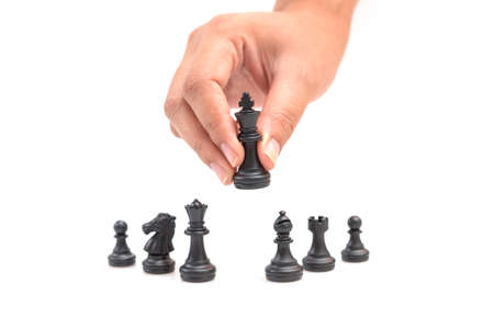 Chess is a thinking process in which business planners choose a path to achieve their goals. Foto de archivo