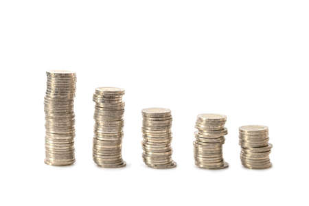 A pile of coins Separately, the division shows financial growth. Banque d'images