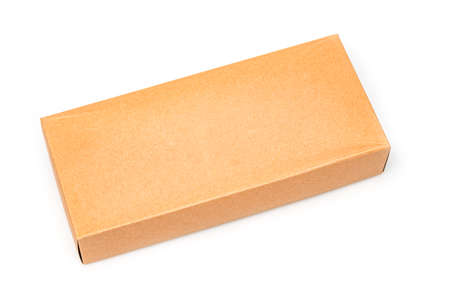 Close up Cardboard box isolated on a white background Banque d'images