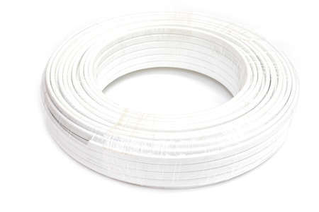 Roll of white power cable isolated white background