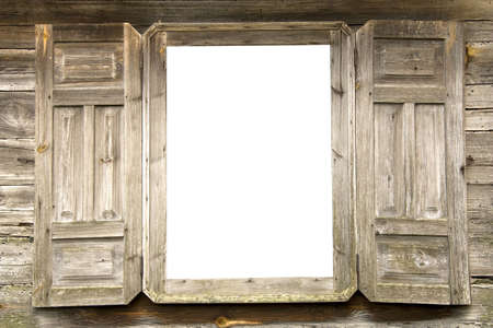 without windows: Old wooden open window with white glasses and with the opened shutters