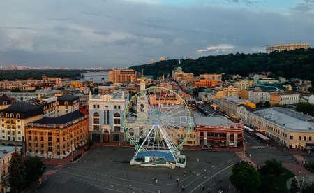 Ferris wheel on Kontraktova square Kiev Ukraine
