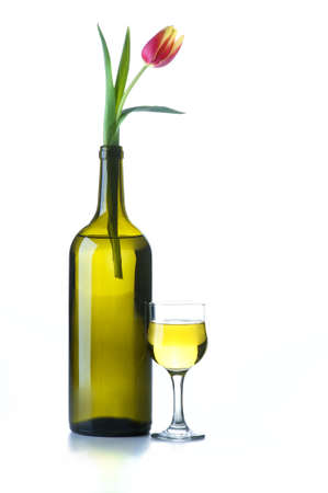 Wine bottle with a flower