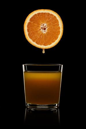 orange juice and orange Stock Photo