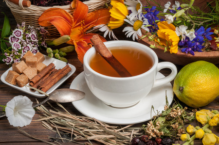 herbal tea with flowers photo