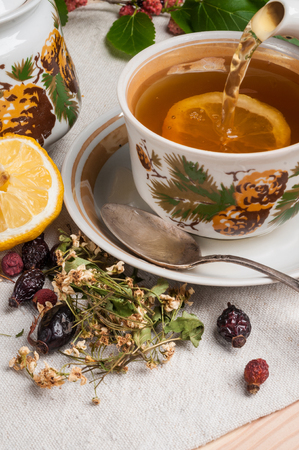linden tea with hawthorn and rosehip Stock Photo