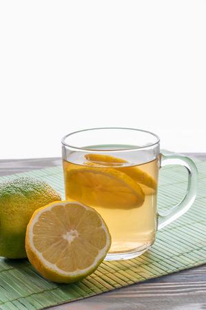 Green tea with lemon Stock Photo