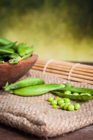 green peas on table