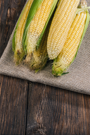 Corn on the wooden table