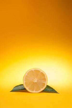 lemon on yellow Stock Photo