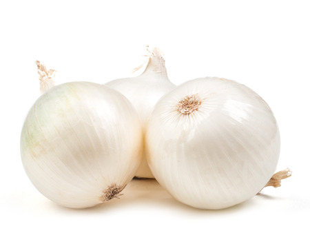 spring onions: white onion isolated on white background
