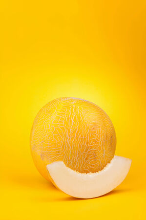 melon on yellow background