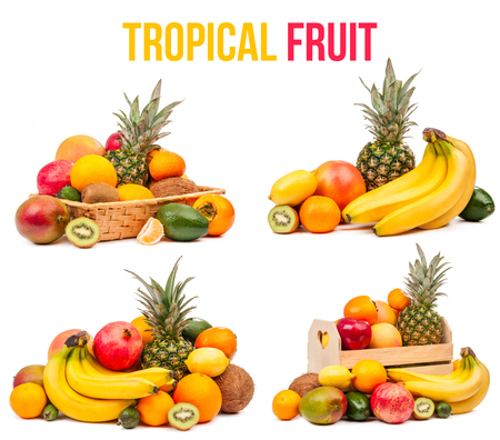 tropical fruit set of four compositions isolated on white background photo
