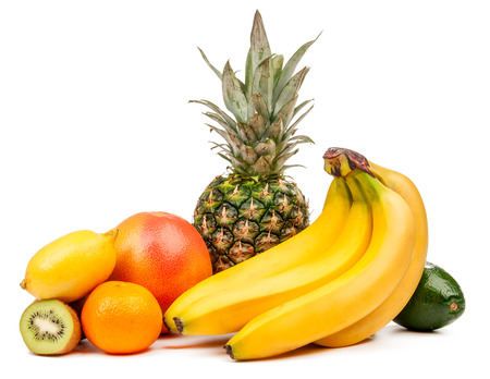 Composition of tropical fruits isolated on a white background photo