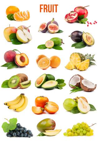 白い背景で隔離の果物大集合 写真素材