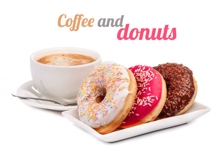 Three donut and cup of coffee isolated on white background Stock Photo