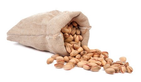 bag of pistachios isolated on a white background