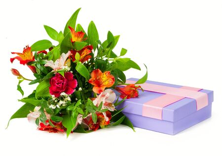 alstroemeria: bouquet alstroemeria and box isolated on white background