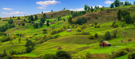 green hills: green hills with trees Stock Photo