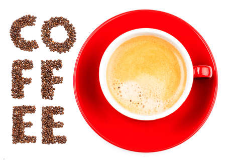 cappuccino cup: red cup of coffee isolated on white background Stock Photo