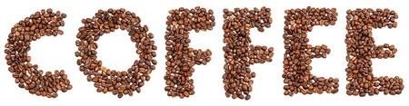 inscription of coffee from coffee beans isolated on white background