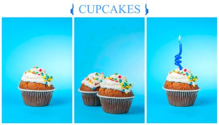 Set of cupcakes on a blue background