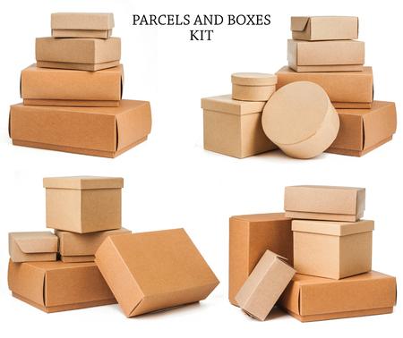 ボックスは、白い背景で隔離の設定します。 写真素材