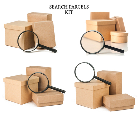 Set search parcels isolated on white background