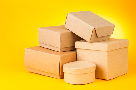 Boxes on yellow background