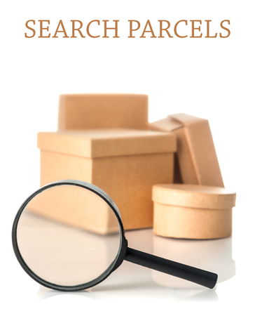 Search parcels isolated on white background