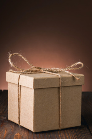 gift box on old wooden background