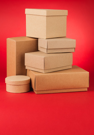 Boxes on red background