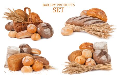 Set bakery products isolated on white background Фото со стока